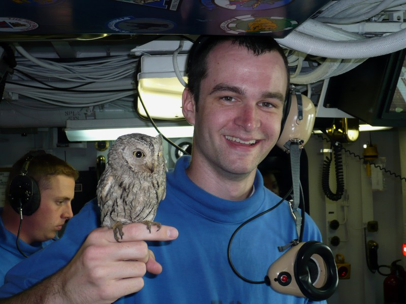 ABH3 Dieringer holds a screech owl named Fod