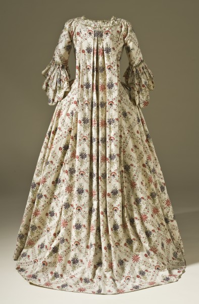 Robe à la Française block-printed cotton c. 1770