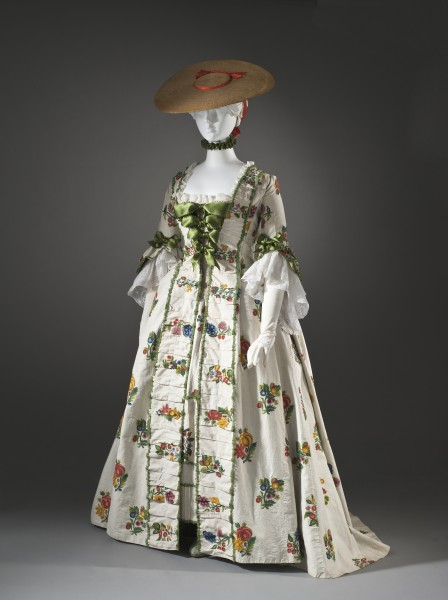 Robe a la Française with wool embroidery LACMA M.90.83a-b