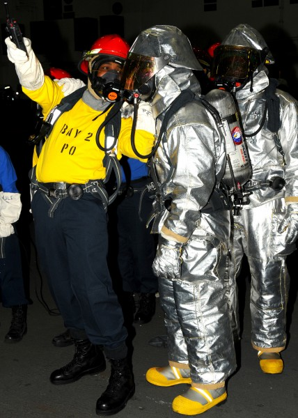 US Navy 100910-N-7908T-023 Sailors assigned to the air department crash and salvage division of the aircraft carrier USS George H.W. Bush (CVN 77)