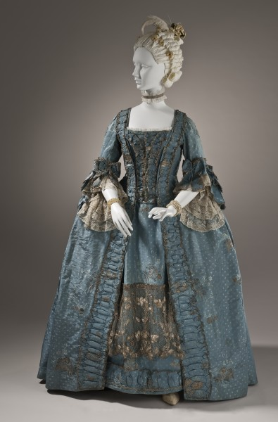 Woman's robe a la française with metallic lace c. 1765