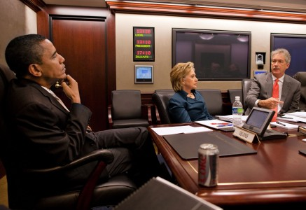 Barack Obama, Hillary Clinton and Bill Burns in the White House Situation Room