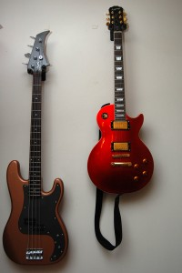 Side-by-Side - Epiphone Les Paul Standard Ltd. Candy Apple Red finish & custom built Jack Sloan Signature Bass