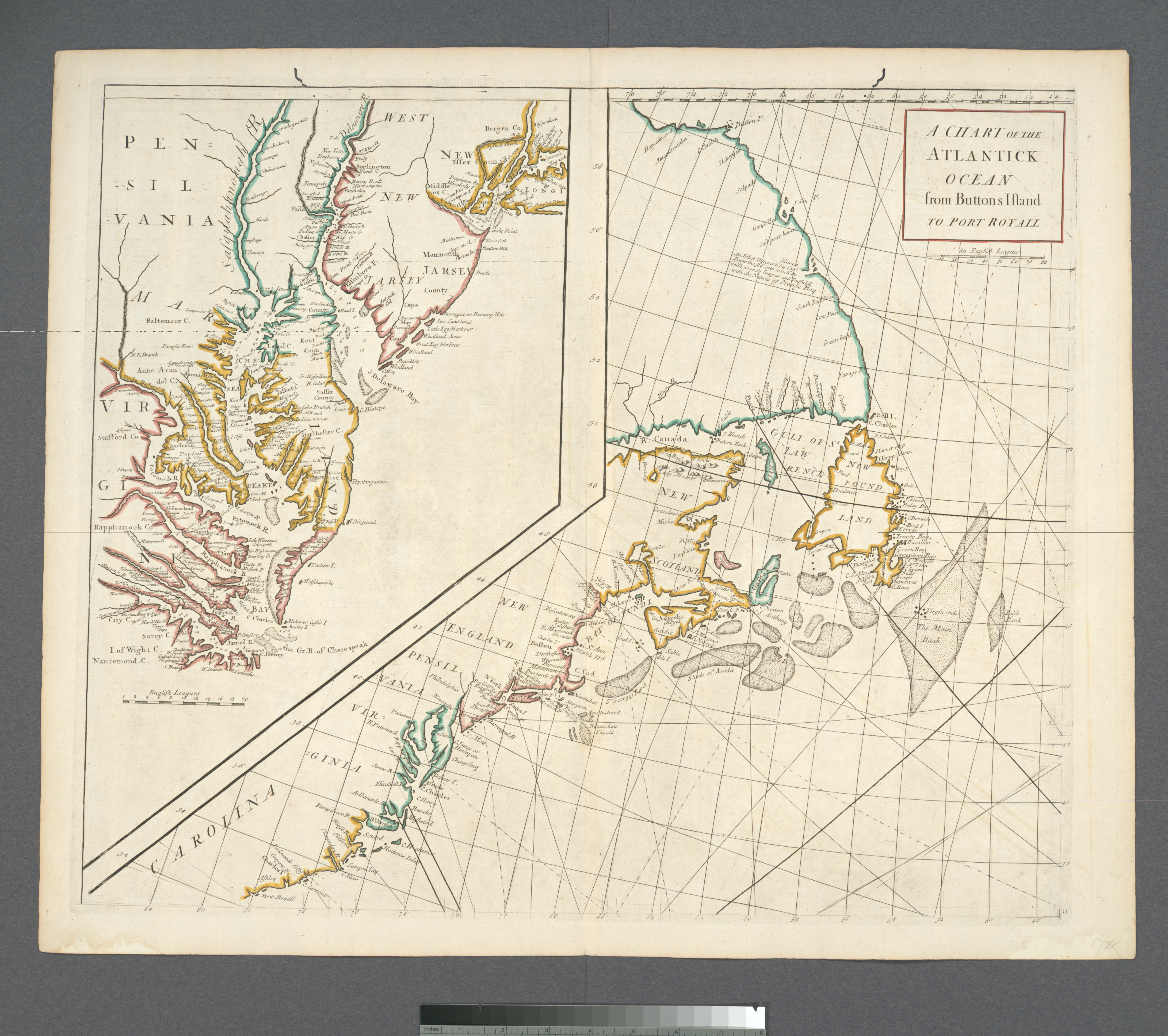 A chart of the Atlantick Ocean from Buttons Island to Port Royall (NYPL b13872920-484218)