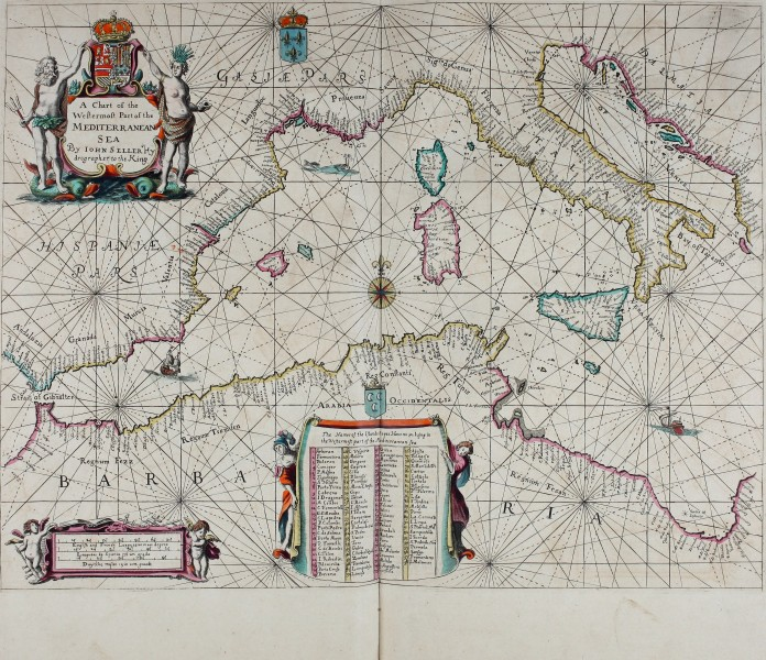 Atlas maritimus, or A book of charts - Describeing the sea coasts capes headlands sands shoals rocks and dangers the bayes roads harbors rivers and ports, in most of the knowne parts of the world. (14566798108)