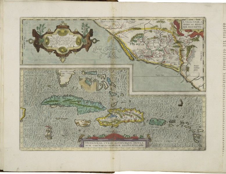 Maps of Culiacán and of Hispaniola and Cuba by Abraham Ortelius