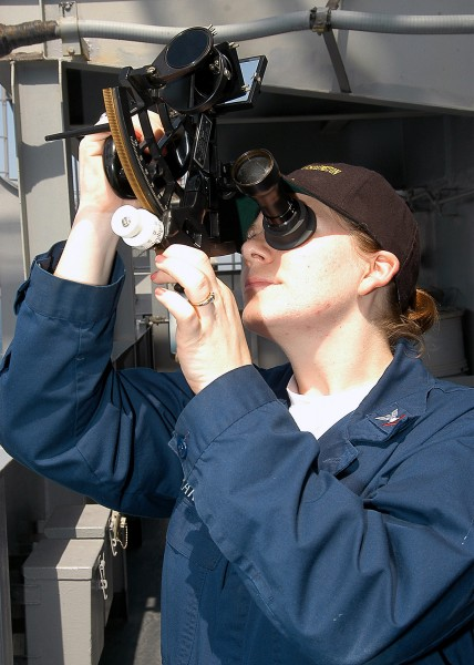 US Navy 040326-N-3986D-024 Quartermaster 3rd Class Mamie Anne Randall, of Paris, Ill., uses a sextant aboard USS George Washington (CVN 73)