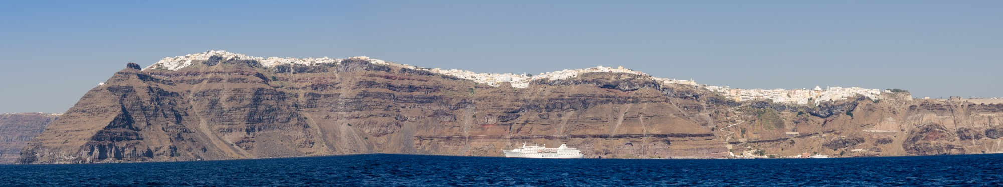Caldera with crater rim and the towns Imerovigli Firostefani Fira - Santorini - Greece