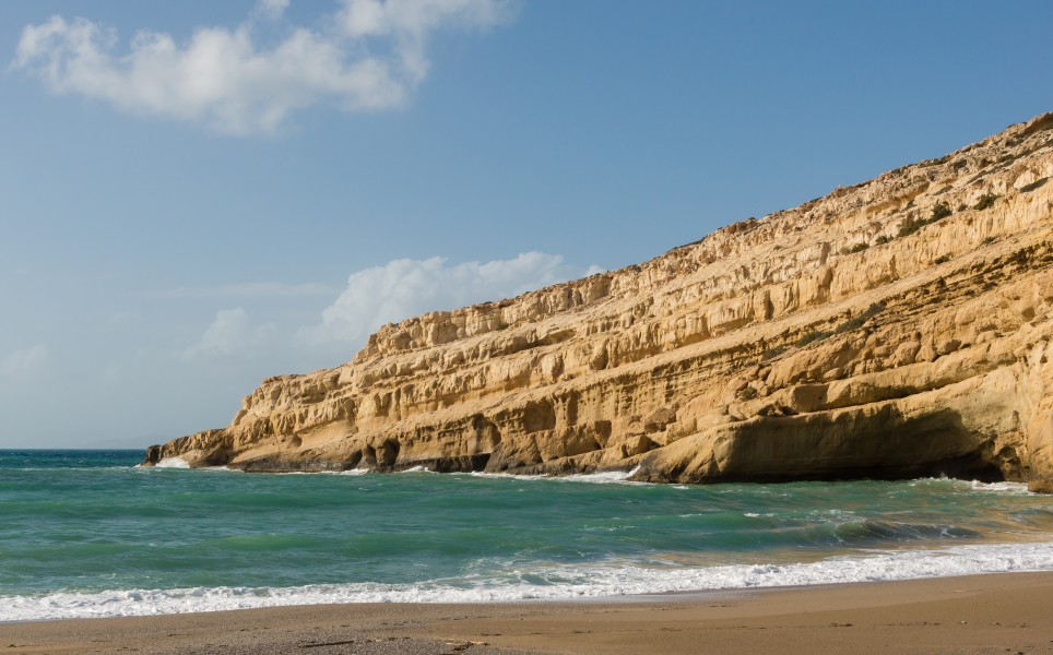 Matala beach cliff Crete Greece