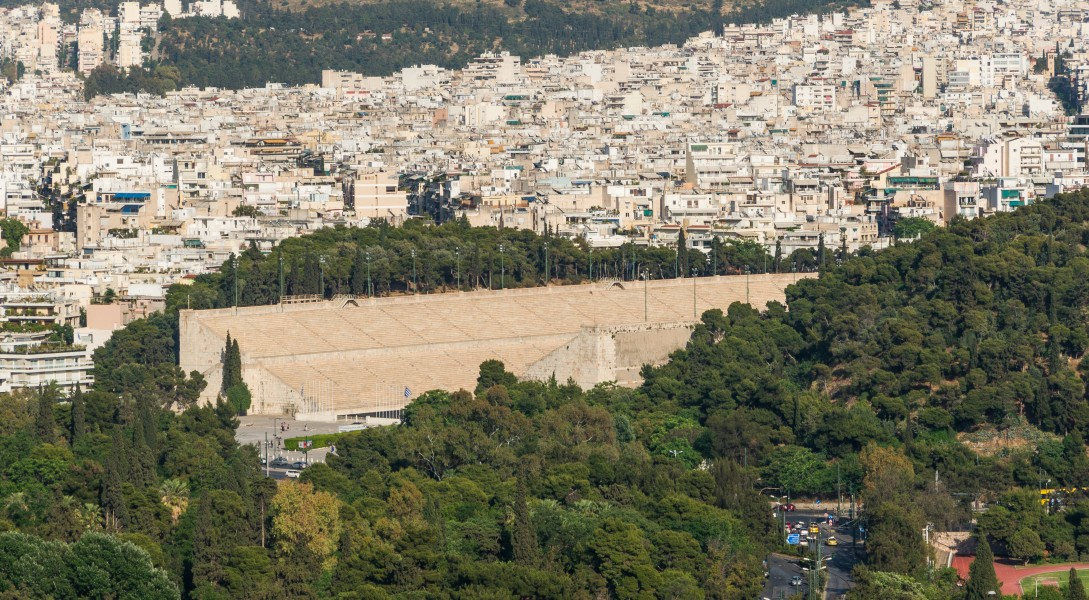 Panathenaic stadium, Pangrati borrough, from Acropolis, Athens, Greece