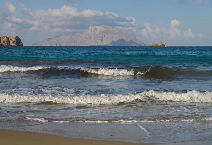 The island of Kassos in the morning. View from the Agios Nikolaos Beach. Karpathos, Greece