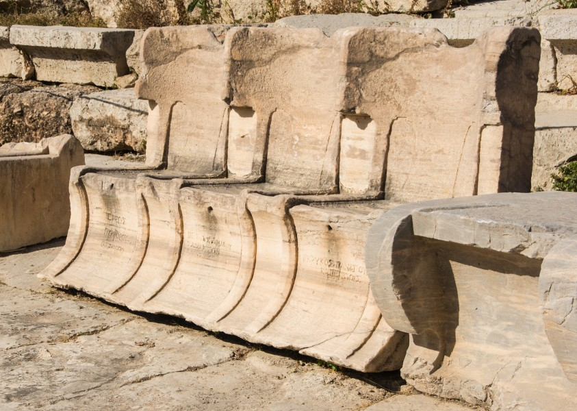 Three stone thrones Dyonisos Theater Athens Greece