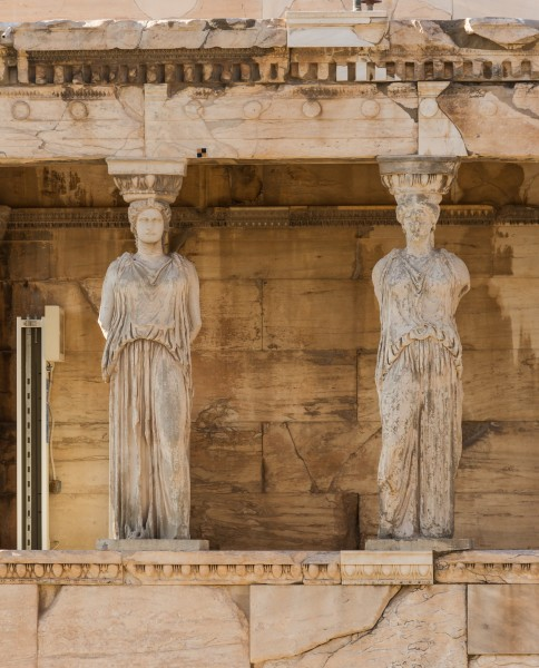 Two caryatids Erechteion Acropolis Athens Greece