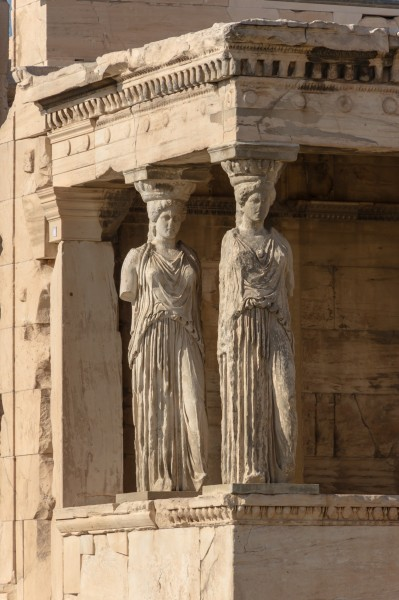 Two caryatids Erechtheum Acropolis Athens Greece