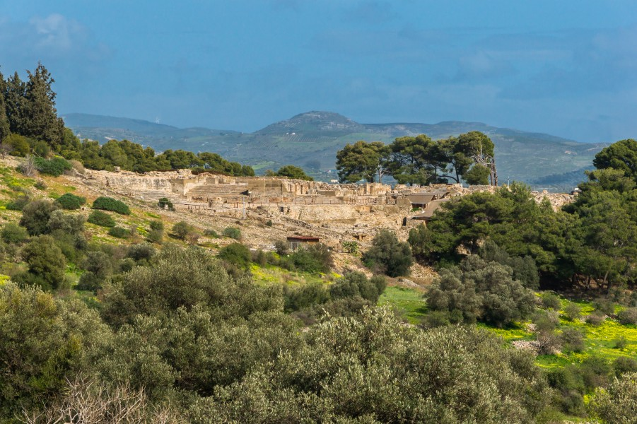 View of antique city of Phaistos Crete Greece