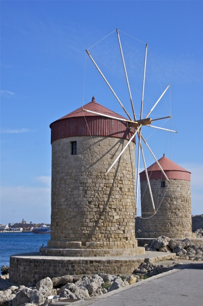 Windmills Rhodes harbour