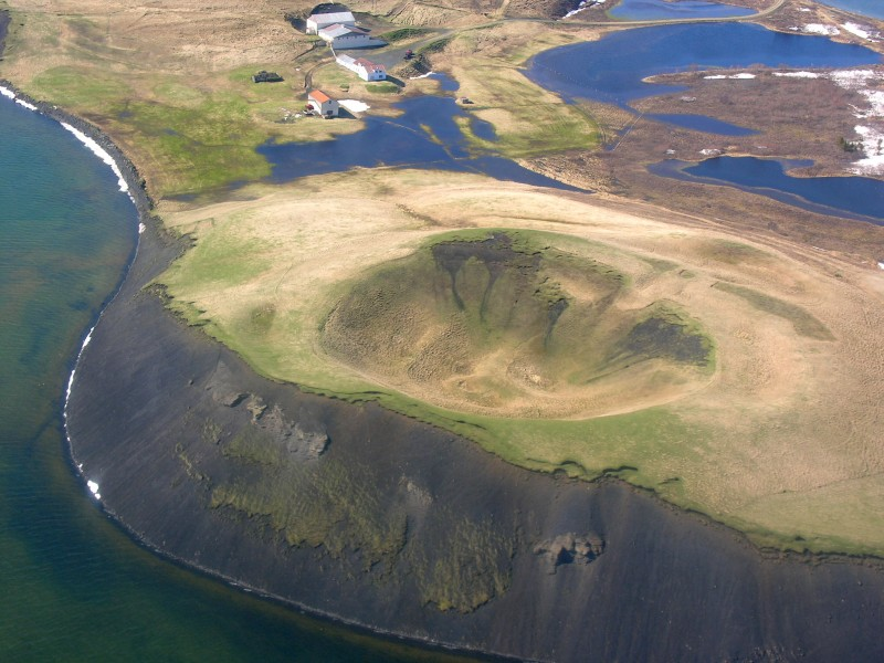 Aerial View of a Pseudo Crater at Mývatn 21.05.2008 15-21-31