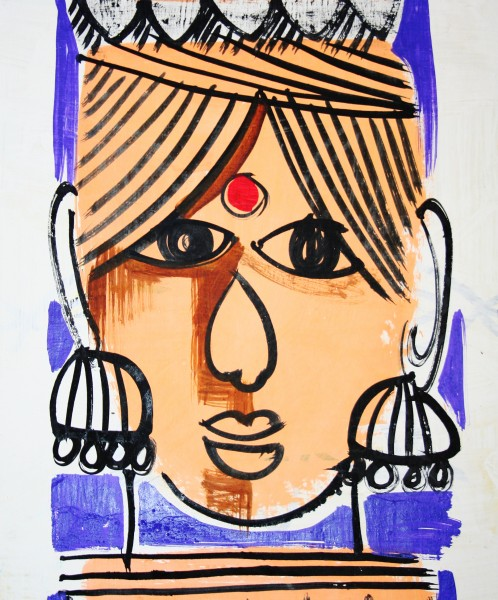 Woman's head with ear rings. Traditional wall painting by villagers, near Katni, M.P., India