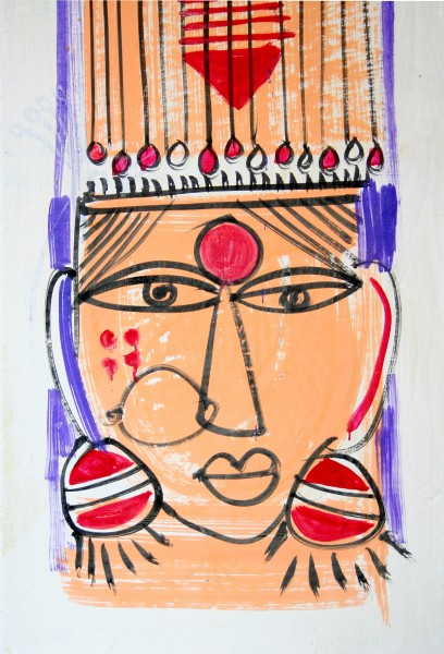Woman's head with ear rings, 2. Traditional wall painting by villagers, near Katni, M.P., India