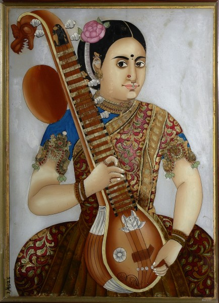 Woman with sitar, Crafts Museum, New Delhi, India