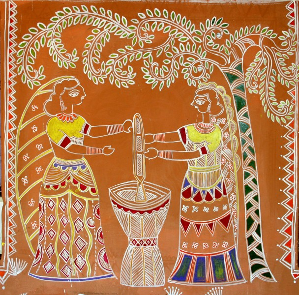 Women pounding grain, traditional wall painting by villagers, near Katni, M.P., India