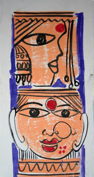 Women's heads, traditional wall painting by villagers, near Katni, M.P., India