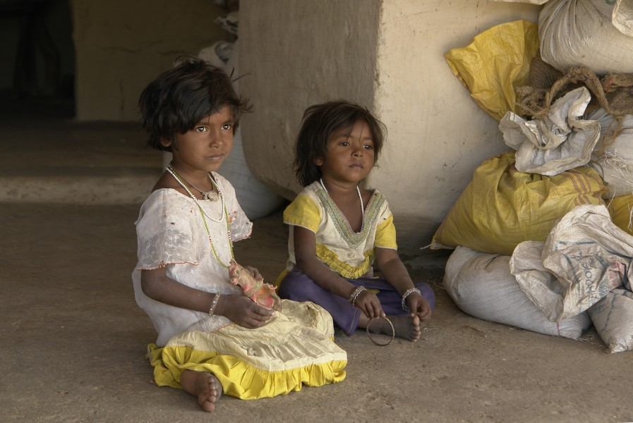 Young Indian girls, Raisen district, Madhya Pradesh, India
