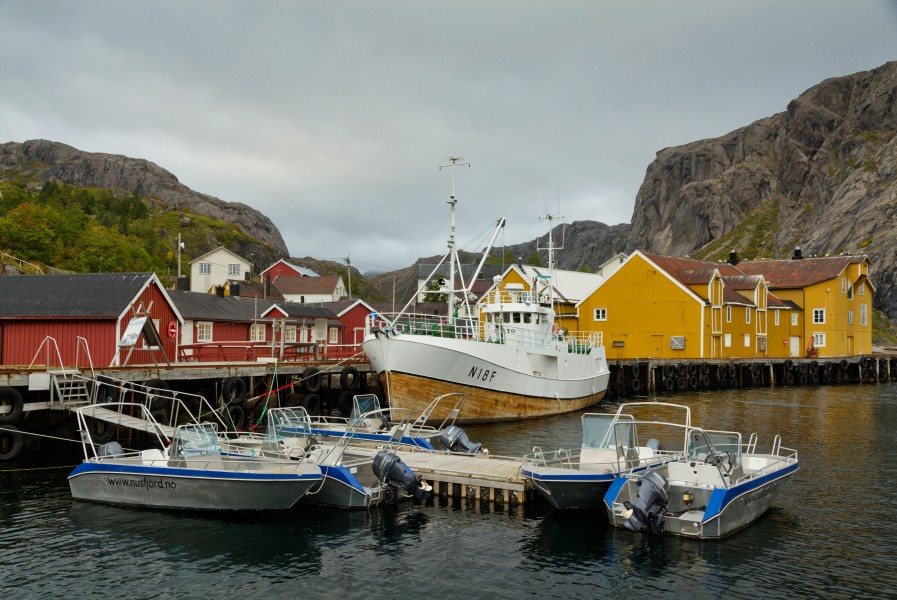 Boats in Nusfjord, Lofoten, Norway, 2015 September