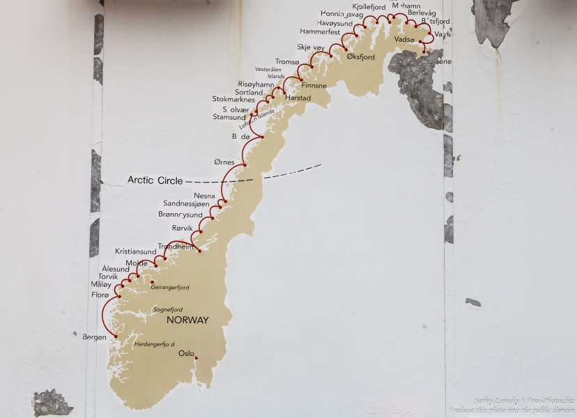 a map of Norway on the deck of MS Trollfjord, photographed in Finnsnes in June 2018 by Serhiy Lvivsky, picture 16