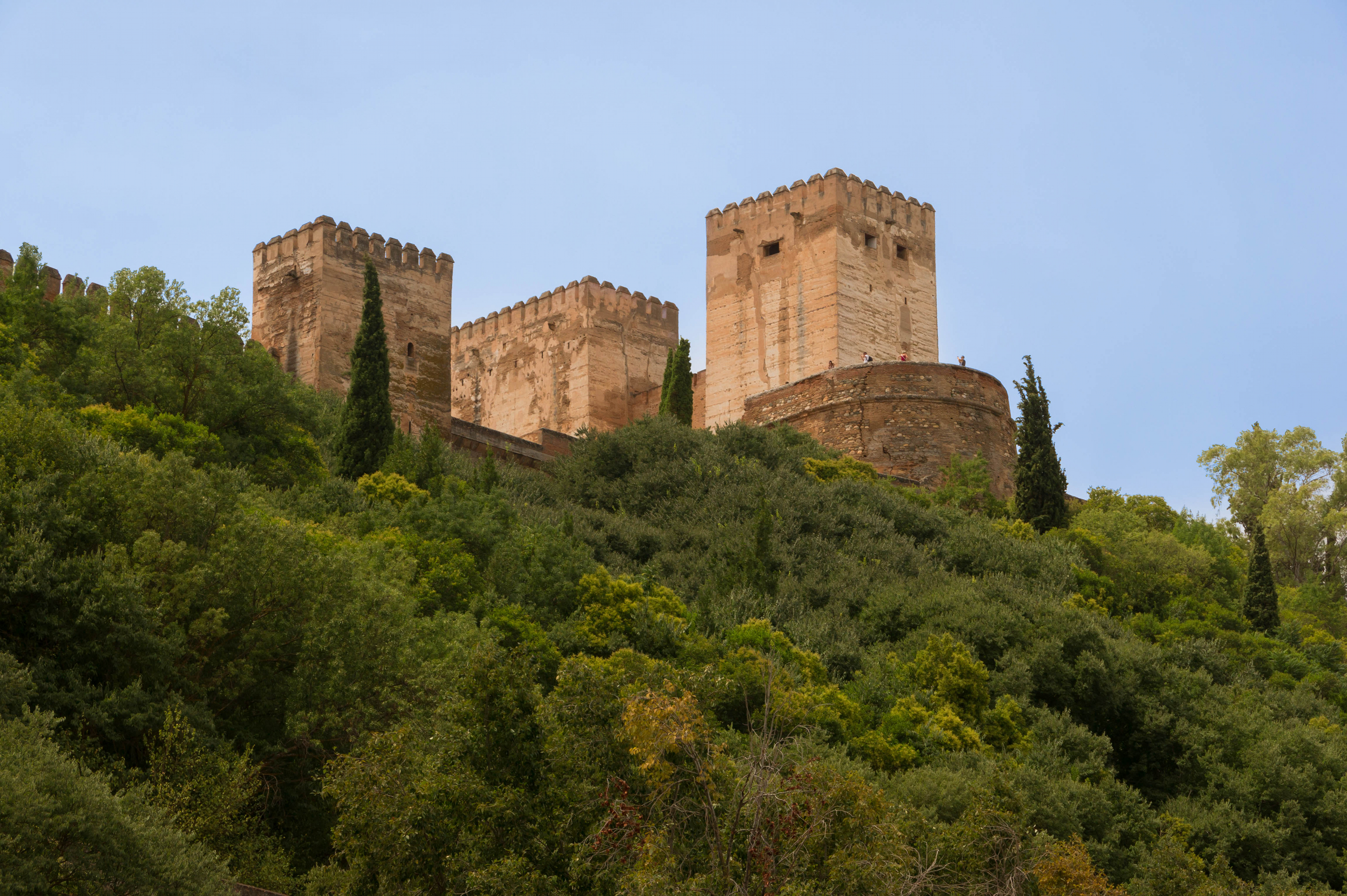 Alcazaba Alhambra from below Granada Spain