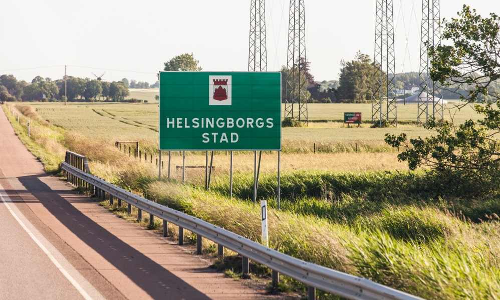 Helsingborg city roadsign, Sweden, June 2014, picture 2