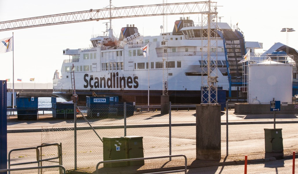 a Scandlines ship in Helsingborg city, Sweden, June 2014, picture 4