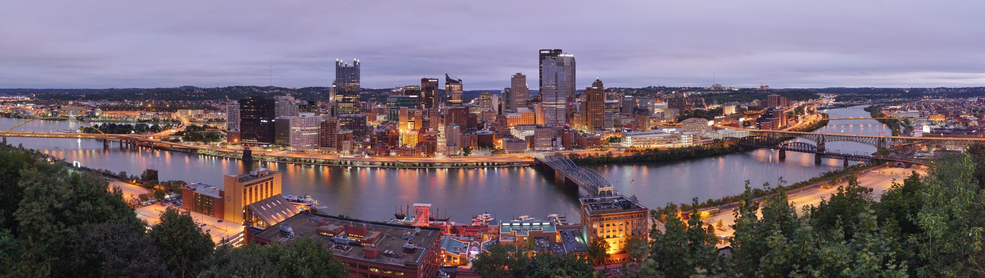 Pittsburgh dawn city pano 2015