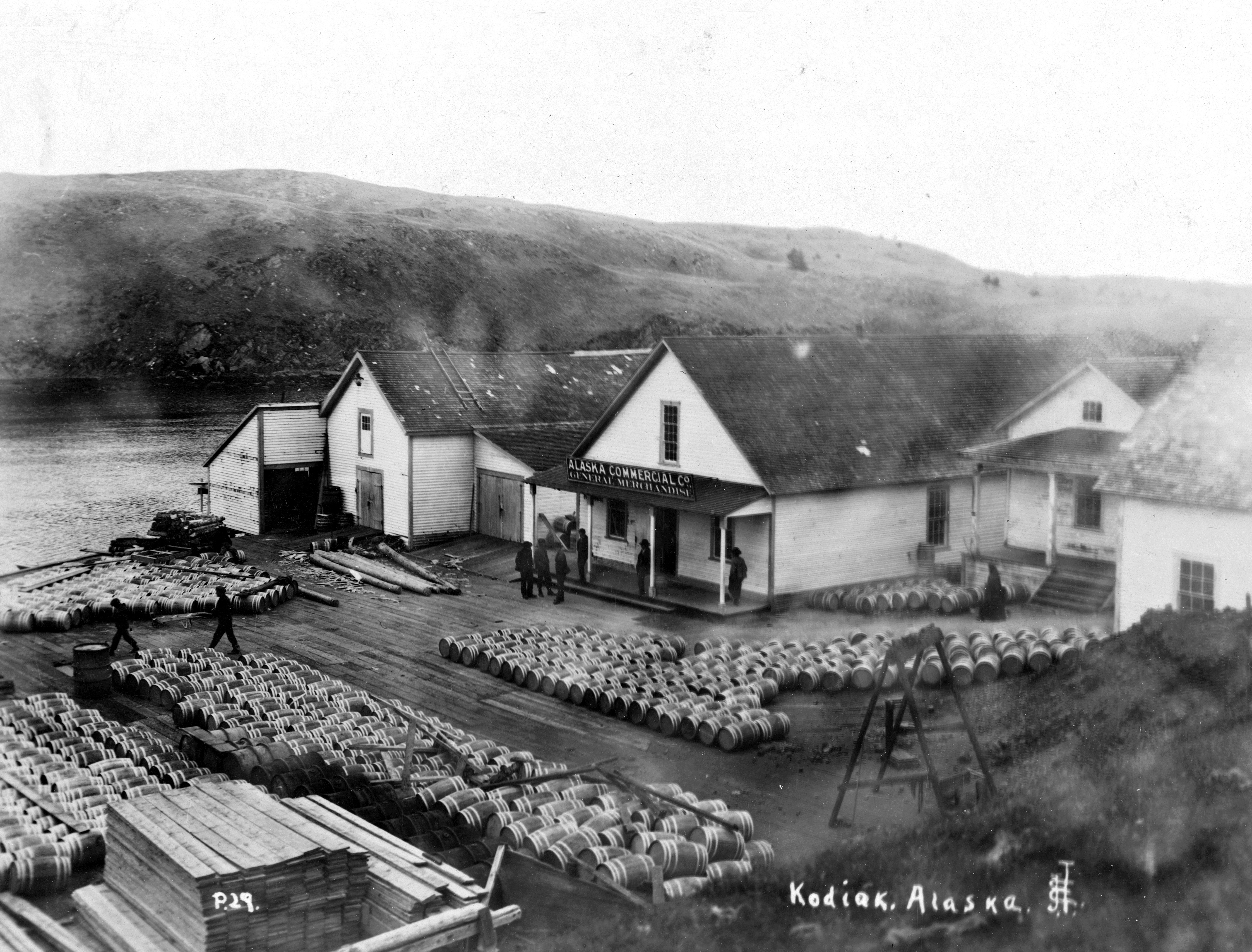 Alaksa Commercial Co and barrelled salmon, Hood Bay
