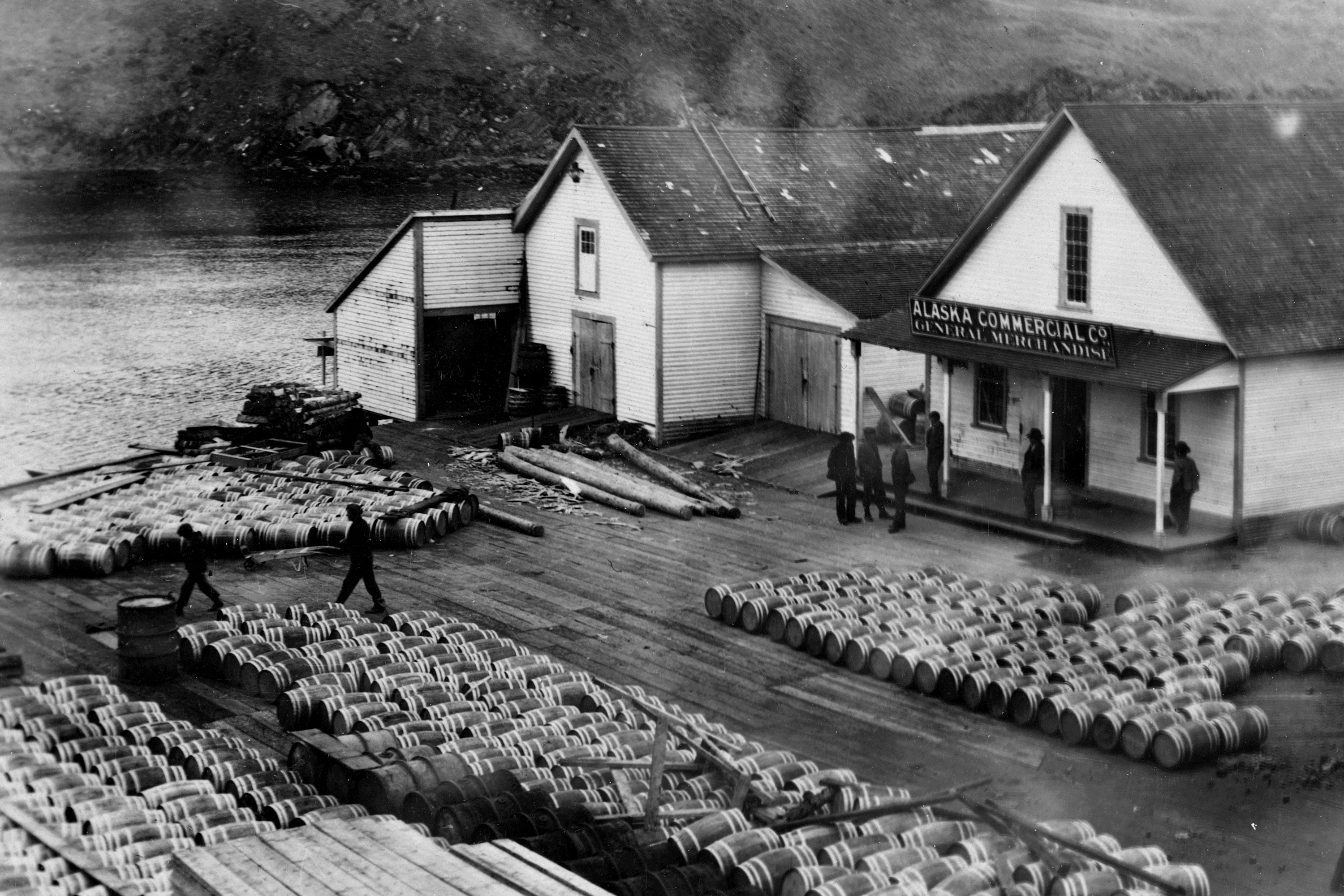 Alaksa Commercial Co and barrelled salmon, Hood Bay (crop)