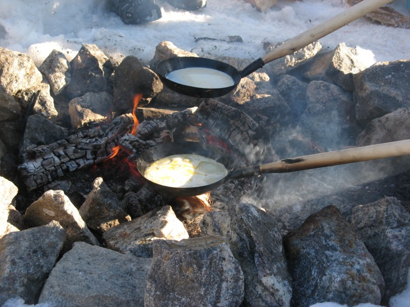 Pancakes outdoors Finland in winter