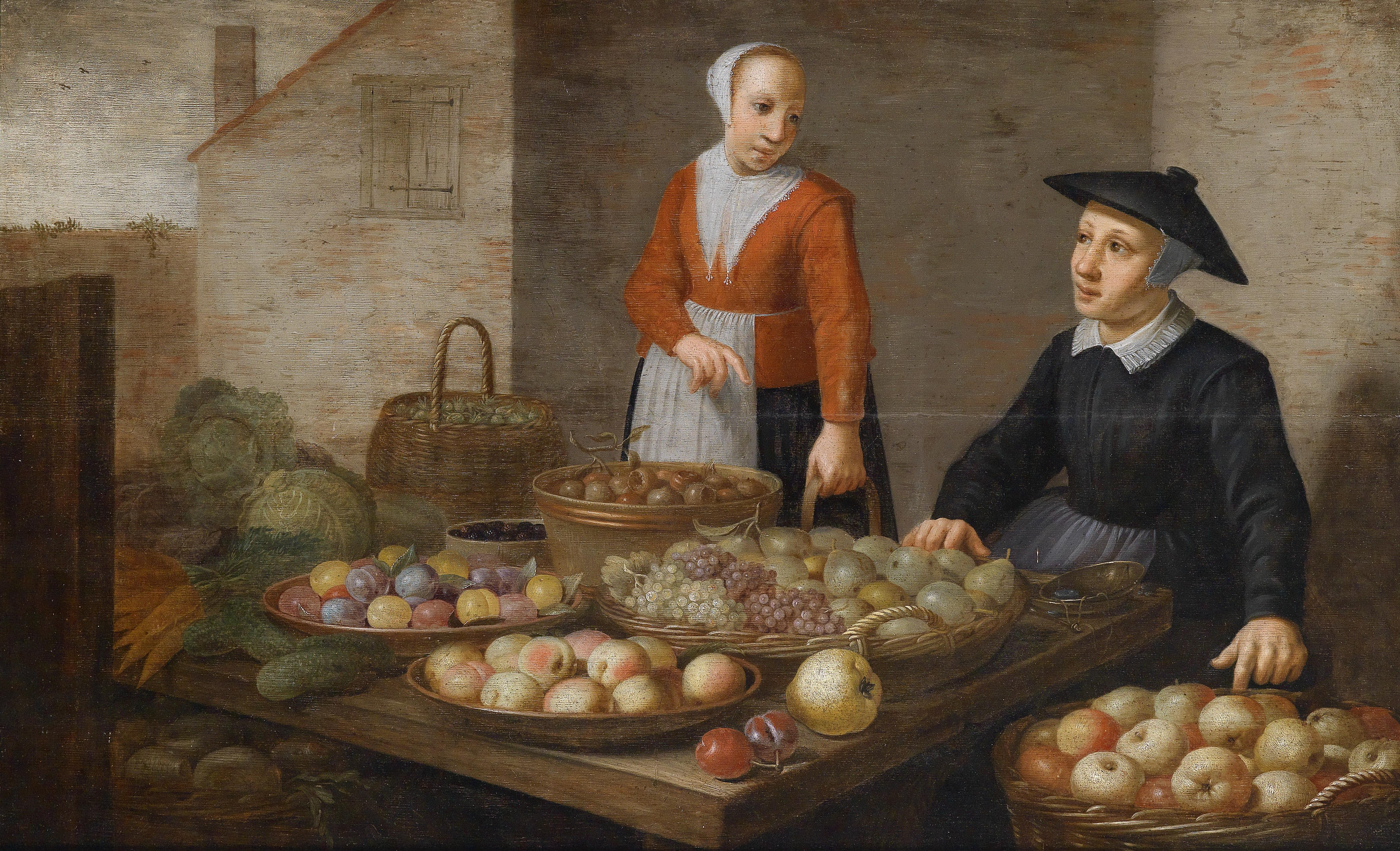 Market scene with two fruit sellers