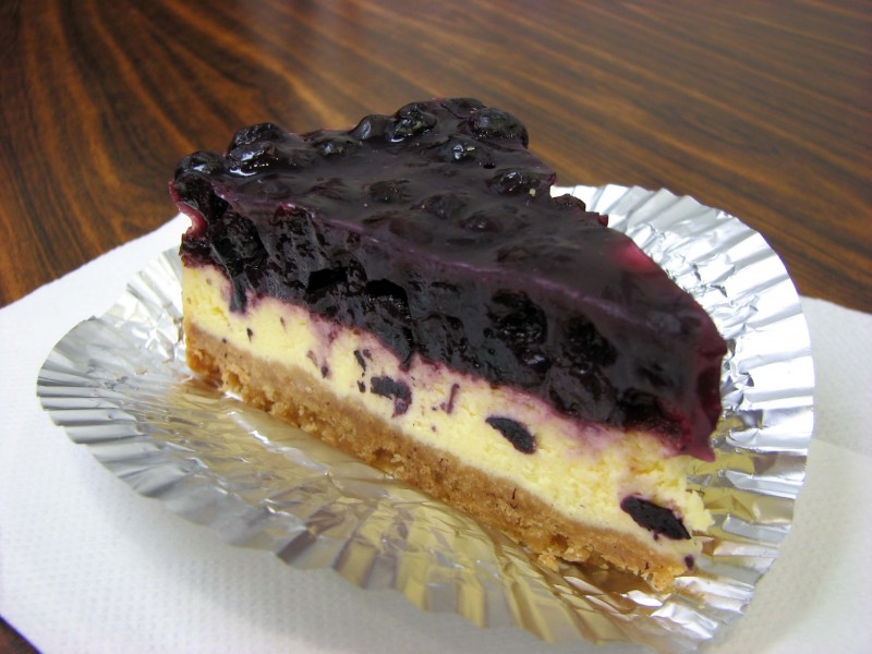Cheesecake with blueberry topping