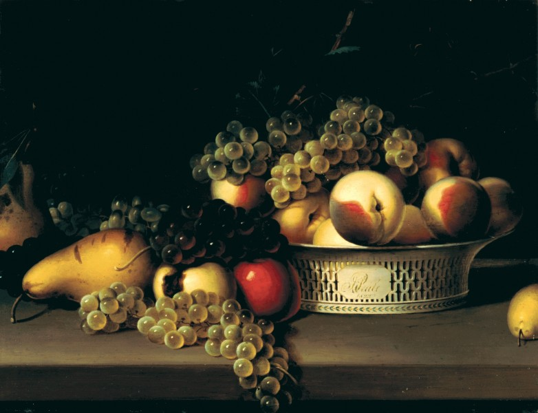 Fruit in a Chinese Export Basket by James Peale, 1822