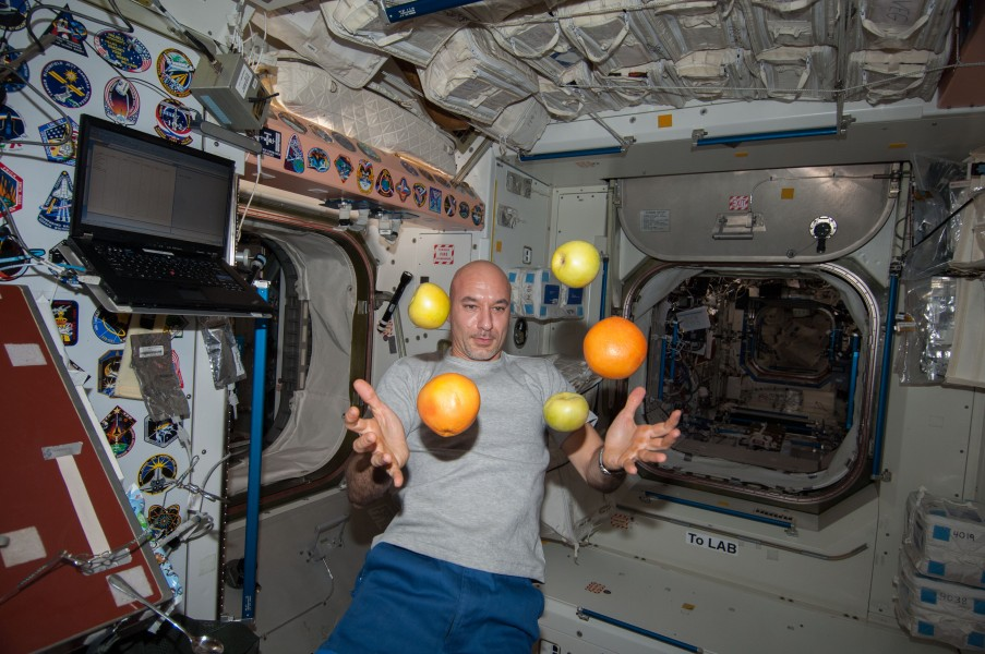 ISS-36 Luca Parmitano with fresh fruit in the Unity node