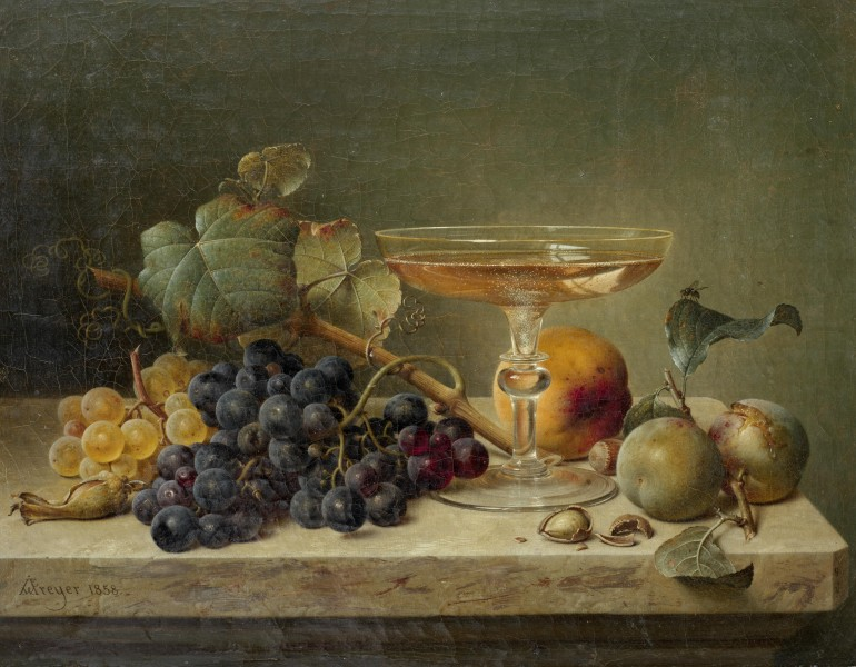 Johann Wilhelm Preyer Still life of fruit nuts and a glass on a marble ledge