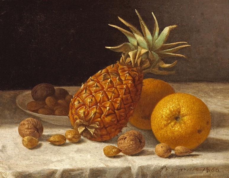John F. Francis - A Still life with Pineapple, Oranges, and Nuts