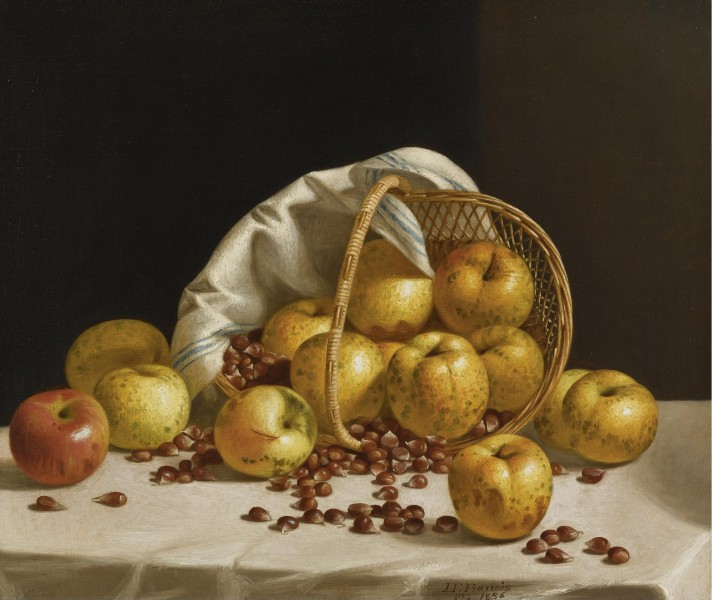John F. Francis - Still Life, yellow apples and chestnuts spilling from a basket