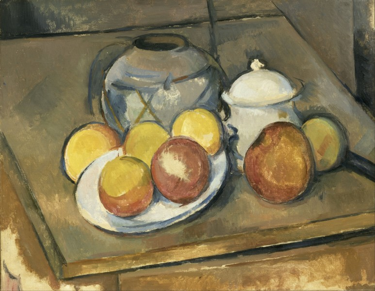 Paul Cézanne - Straw-Trimmed Vase, Sugar Bowl and Apples - Google Art Project