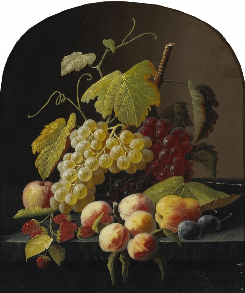 Severin Roesen - A Still Life with Grapes, Peaches and other Fruit on a Ledge