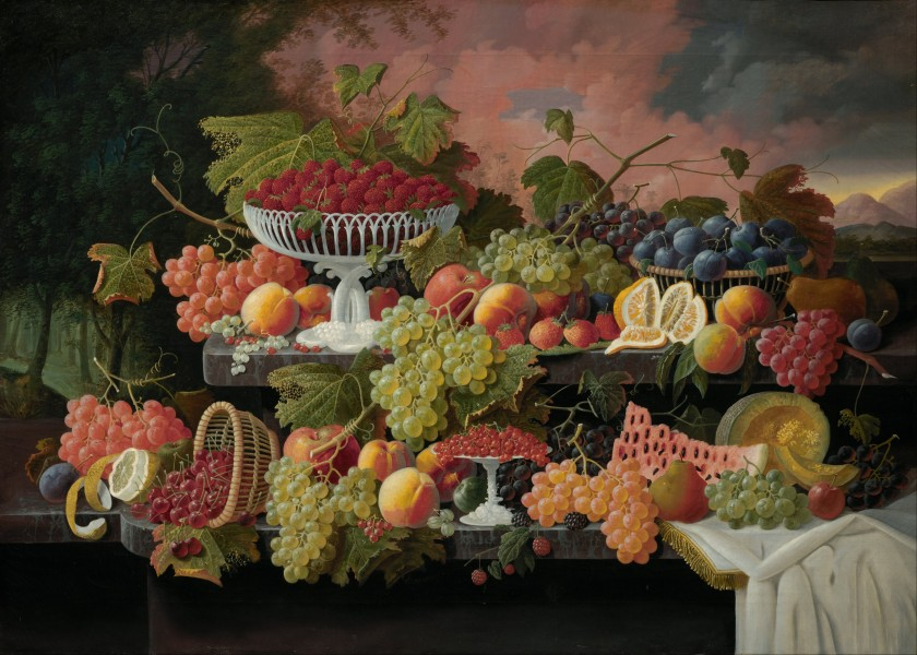 Severin Roesen - Two-Tiered Still Life with Fruit and Sunset Landscape - Google Art Project