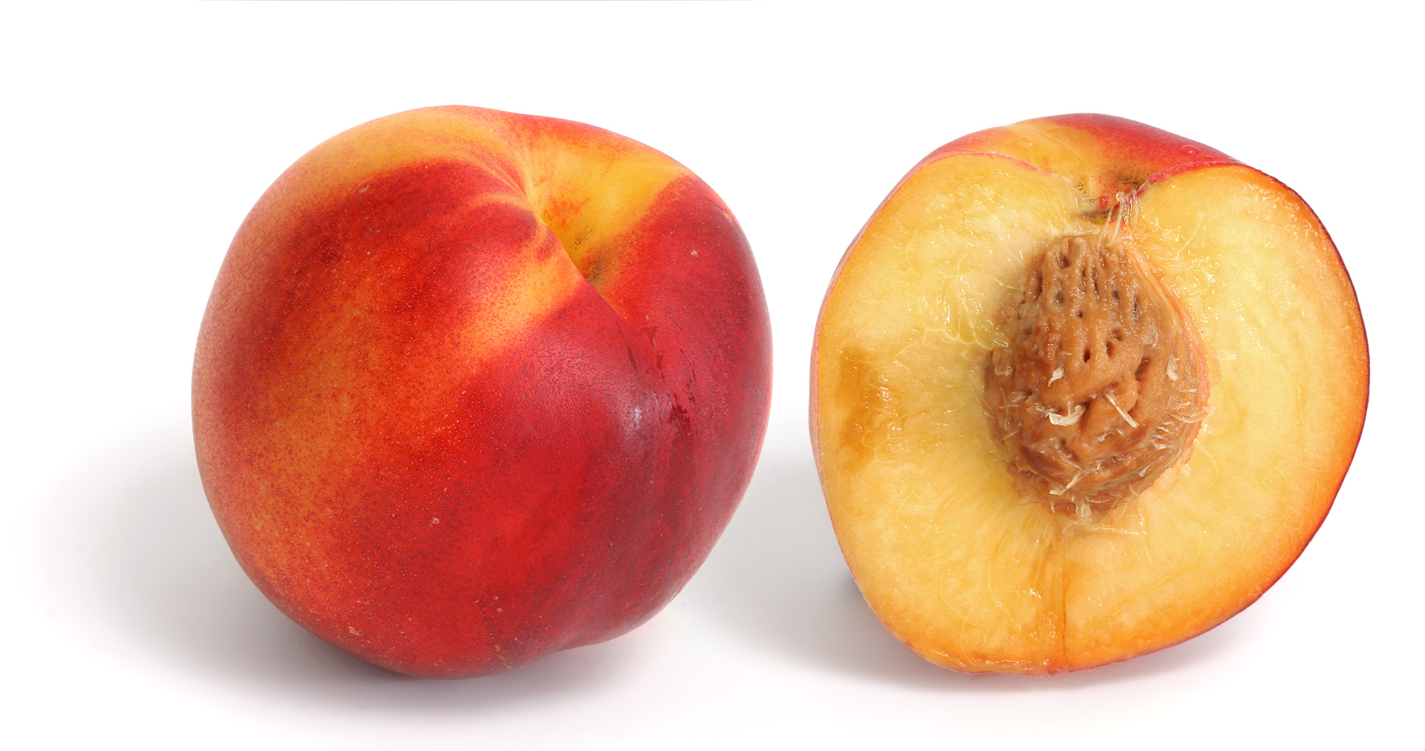 Yellow nectarine and cross section