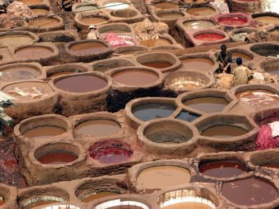 Leather dyeing vats in Fes