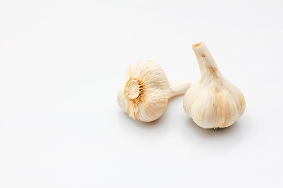 Raw Garlic on a White Background (24303342708)