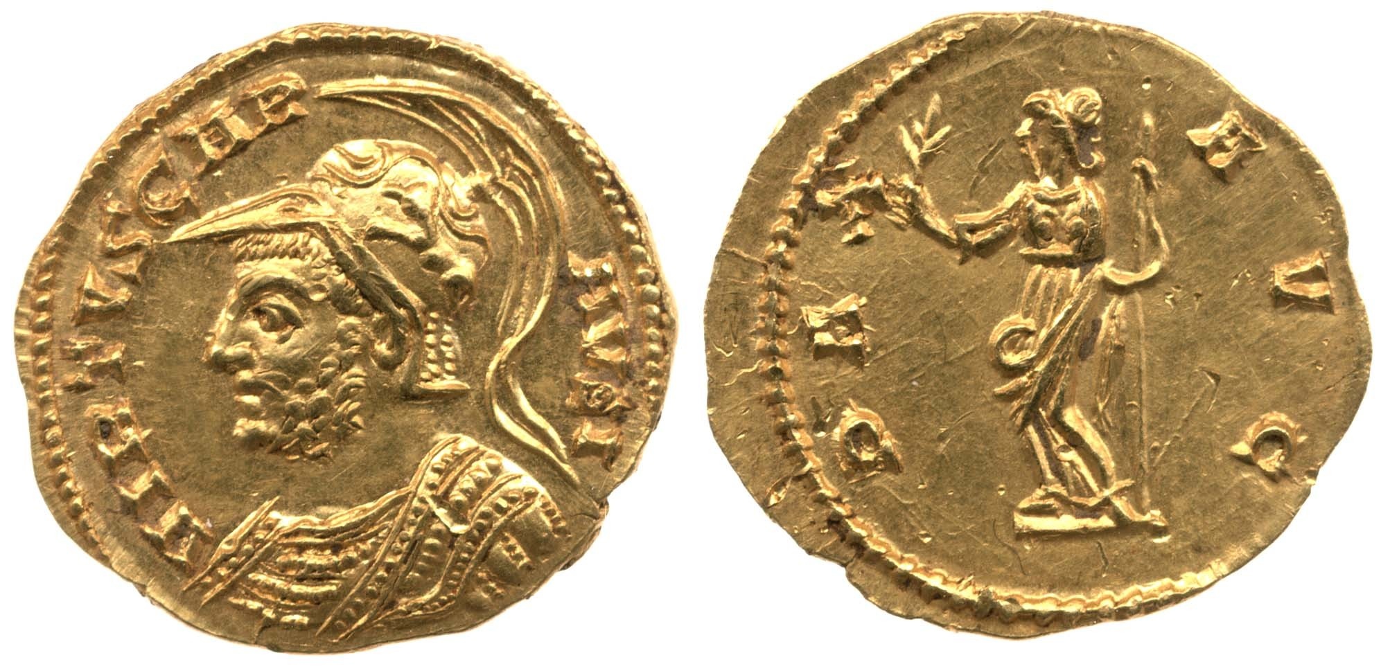 An Aureus of Carausius, minted at London
